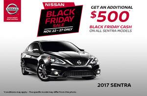 Black Friday - Big Savings on the 2017 Nissan Sentra!