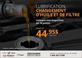 Lubrification, changement d'huile et de filtre à partir de 44,95$