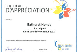 Relay for life Chaleur 2012