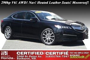 2015 Acura TLX V6 Tech 290hp V6! SH-AWD! Nav! Heated Leather Seats! Power Moonroof!