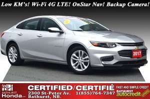 2017 Chevrolet Malibu LT - Low KM's Very Low KM's! Wi-Fi 4G LTE! OnStar Nav! Backup Camera! Bluetooth! 6-speed Automatic!