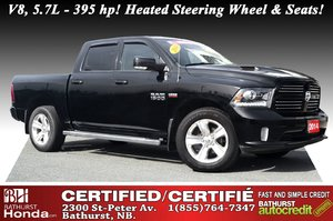 2014 Ram 1500 Sport V8, 5.7L - 395 hp/410 lb-ft! Heated Steering Wheel & Seats! Sirius XM! Bluetooth!