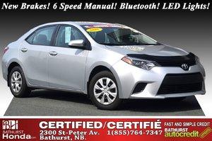 2016 Toyota Corolla CE New Brakes! 6 Speed Manual! Bluetooth! LED Lights! Power Options!