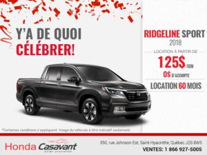Procurez-vous la Honda Ridgeline 2018!