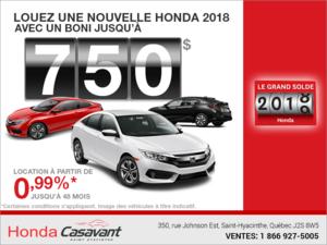 Le Grand Solde 2018 de Honda!