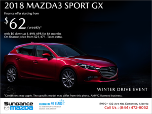 Get the 2018 Mazda3 Sport today!