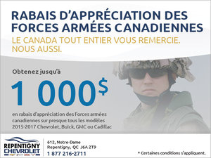 Rabais d'appréciation des forces armées canadiennes