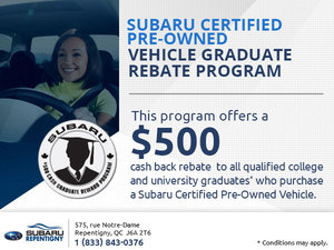 Subaru Certified Pre-Owned Vehicle Graduate Rebate Program