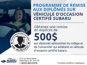 Programme de remise aux diplômés sur véhicule d'occasion certifié Subaru