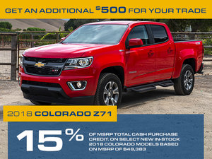 Promotion Chevrolet Colorado, Octobre 2018