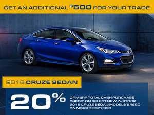 Promotion Chevrolet Cruze, Octobre 2018