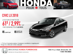 Louez la Honda Civic Berline 2018!
