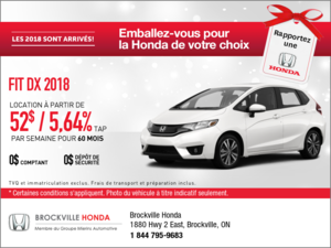 Économisez sur la Honda Fit 2018 dès aujourd'hui!