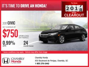 Lease the 2017 Honda Civic!