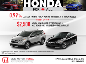Get a new 2018 Honda today!