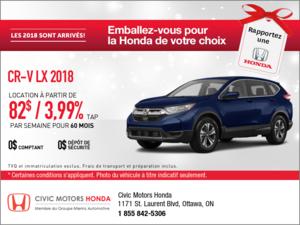 Économisez sur le Honda CR-V 2018 dès aujourd'hui!