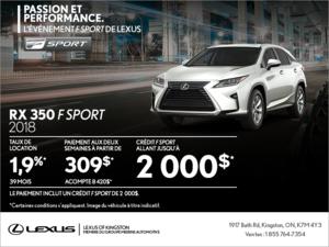 Procurez-vous la Lexus RX 350 2018!