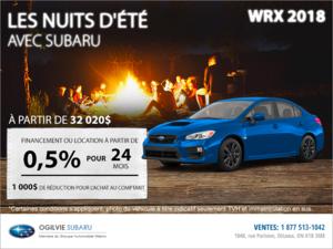 Obtenez la Subaru WRX 2018 dès aujourd'hui!