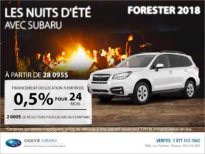 Obtenez le Subaru Forester 2018 dès aujourd'hui!