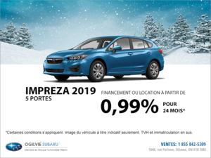 Obtenez la Subaru Impreza 5 portes 2019 dès aujourd'hui!