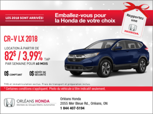 Économisez sur la Honda CR-V 2018 dès aujourd'hui!