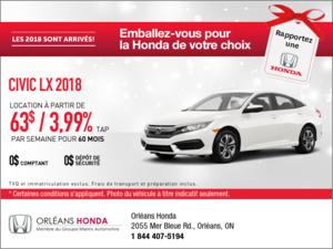 Économisez sur la Honda Civic 2018 dès aujourd'hui!