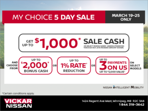 Nissan's My Choice 5-Day Sale!
