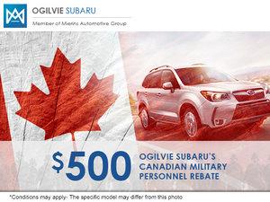 Ogilvie Subaru's Canadian Military Personnel Rebate Program