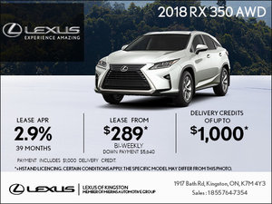 Get the 2018 RX 350 today!