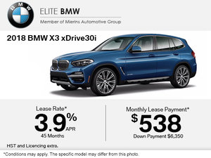 Get the 2018 BMW X3 xDrive30i Today!
