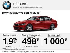 Obtenez la BMW 330i xDrive 2018 aujourd'hui!