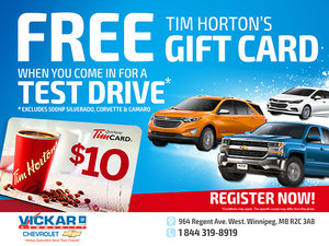 Book a Test Drive for a Free Tim Hortons Gift Card