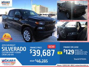 2019 CHEVY SILVERADO CUSTOM SPORT 4 DOOR CREW CAB 4X4 # KT6304