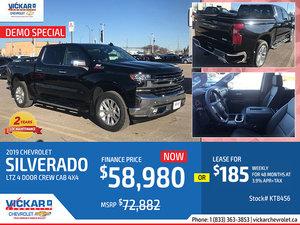 2019 CHEVY SILVERADO LTZ 4 DOOR CREW CAB 4X4 DEMO SPECIAL # KT8456