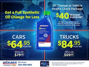Vickar Chevrolet Full Synthetic Oil Change for Less