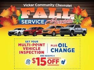 Vickar Chevrolet Service Specials
