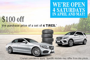 $100 off the purchase price of a set of 4 tires