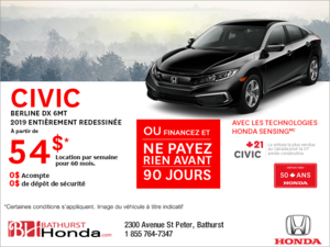 Louez la Honda Civic Berline 2019!
