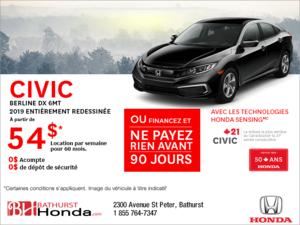 Louez la Honda Civic Berline 2019!