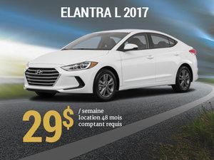 Roulez avec la Hyundai Elantra L 2017 pour seulement 29$/sem. chez Hyundai Trois-Rivières à Trois-Rivières