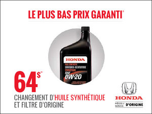 Changement d'huile synthétique à seulement 64$! chez Avantage Honda à Shawinigan