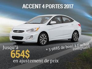 Ajustement de prix + boni à l'achat pour la Hyundai accent 4 portes 2017 chez Hyundai Trois-Rivières à Trois-Rivières