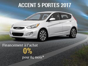 Financement à l'achat de 0% pour la Hyundai accent 5 portes 2017! chez Hyundai Trois-Rivières à Trois-Rivières