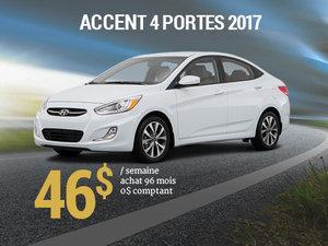 46$ par semaine pour une Hyundai Accent 4 portes 2017 chez Groupe Vincent à Shawinigan et Trois-Rivières