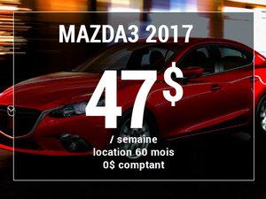 Roulez en Mazda3 2017 à partir de 47$ / semaine chez Groupe Vincent à Shawinigan et Trois-Rivières