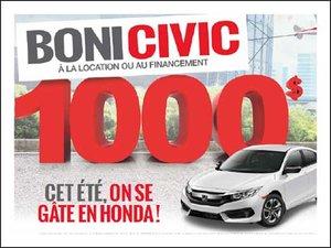 Boni de 1000$ sur nos Civic coupés et berlines! chez Avantage Honda à Shawinigan