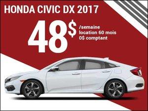 La Honda Civic 2017 pour 48$ par semaine chez Avantage Honda à Shawinigan