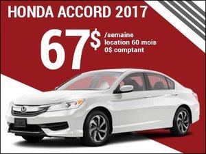 67$ par semaine pour la nouvelle Honda Accord 2017 chez Avantage Honda à Shawinigan