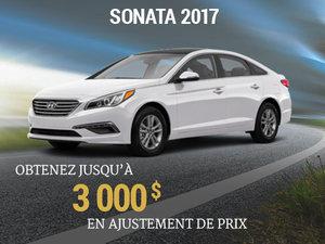 Jusqu'à 3 000$ en ajustement de prix sur le Hyundai Sonata 2017 chez Groupe Vincent à Shawinigan et Trois-Rivières