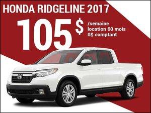 Le nouveau Honda Ridgeline 2017 à 105$ par semaine chez Avantage Honda à Shawinigan